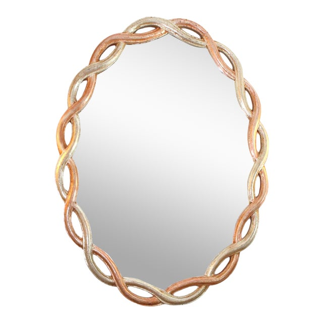 Vintage Ethan Allen Gilded Wood Braided Oval Mirror Made in Italy For Sale