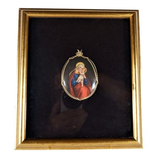 Vintage Miniature Medallion Madonna and Child Painting Framed For Sale