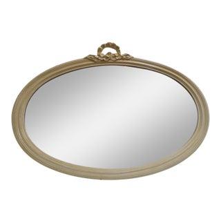 Contemporary Antique Style Cream Oval Mirror For Sale