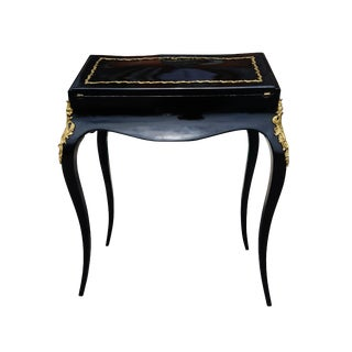 19th Century French Louis XV Black Lacquer Secretary Desk