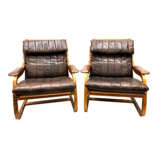 Mid Century Danish Modern Bentwood & Leather Lounge Chairs - a Pair For Sale