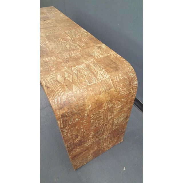 Unusual Hand-Stenciled Bark Console Table For Sale - Image 4 of 7