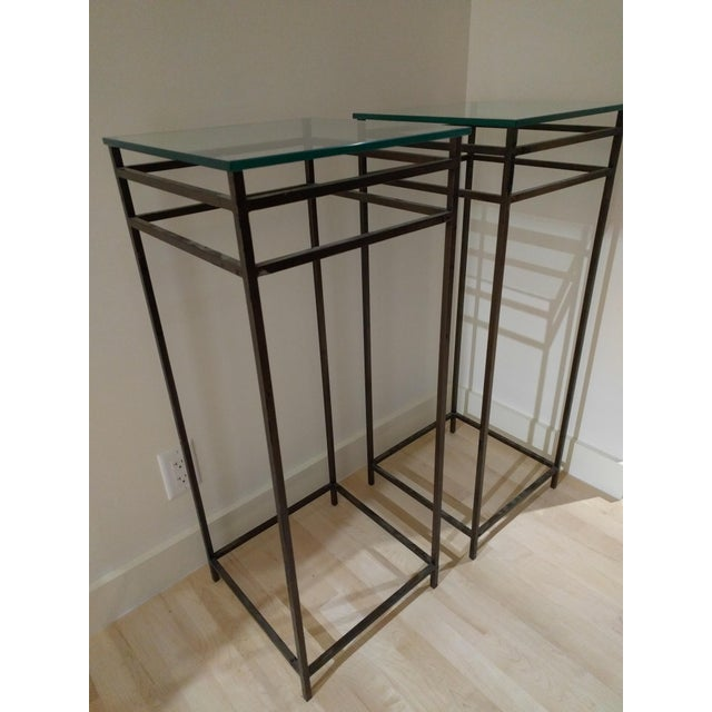 Modern Contemporary Tall Metal Plant Stands - a Pair For Sale - Image 11 of 12