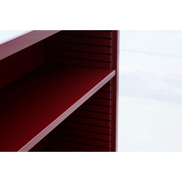 Contemporary 1960s Tanker Style Steel Bookcase Refinished in Red Wine For Sale - Image 3 of 5