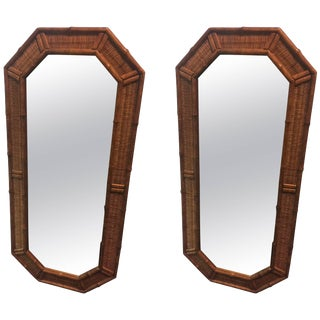 Pair of Modern Wood Bamboo and Wicker Octagonal Mirrors For Sale