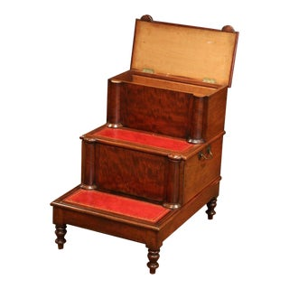 19th Century English Mahogany and Red Leather Library Step Ladder With Storage For Sale