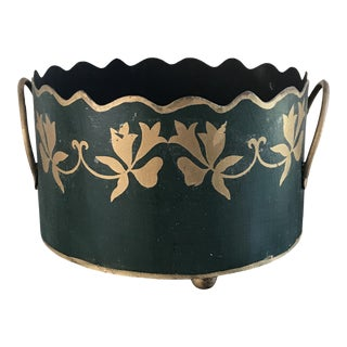 1980s Vintage Dark Green Tole Cachepot For Sale