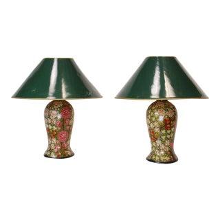 19th Century English Papier Mache Lamps - a Pair For Sale