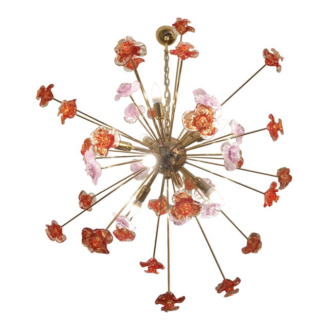 Murano Glass Flowers Chandelier For Sale - Image 10 of 10