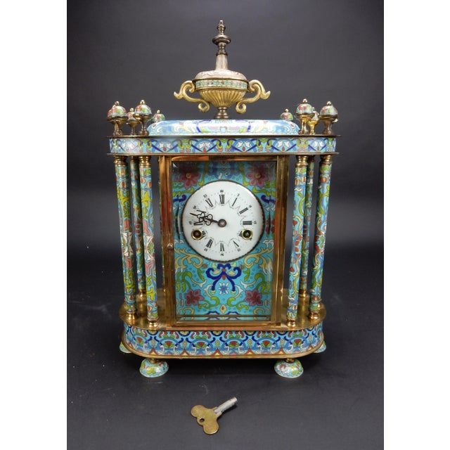 "Chinese Export Bronze and Cloisonné Mantle Clock Excellent Working Condition 19"" For Sale - Image 13 of 13"