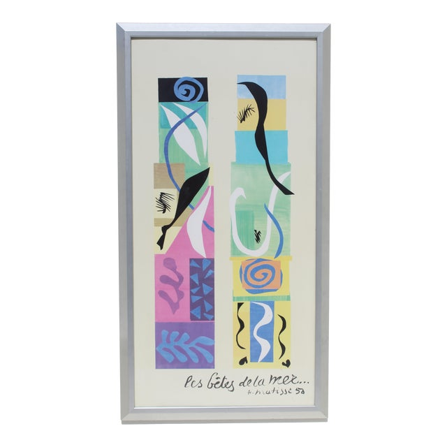 20th Century Modern Matisse Poster With Brushed Silver Frame For Sale