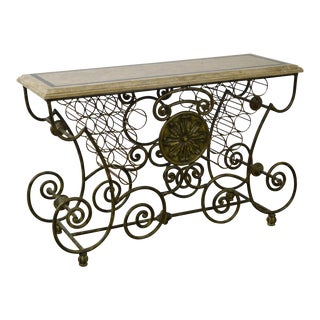 Maitland Smith Scrolled Iron & Bronze Tessellated Top Wine Rack Bakers Table For Sale