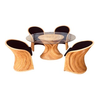 1970s Boho Chic Henry Olko for Willow and Reed Bamboo Dining Set - 5 Pieces For Sale