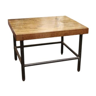 Vintage Butcher Block Table With Black Pipe Legs For Sale