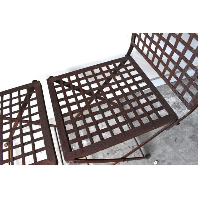 Metal Vintage 1940s Wrought Iron Folding Garden Chairs - a Pair For Sale - Image 7 of 11