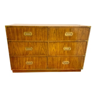 Mid Century Six Drawer Campaign Style Chest Dresser by Dixie For Sale
