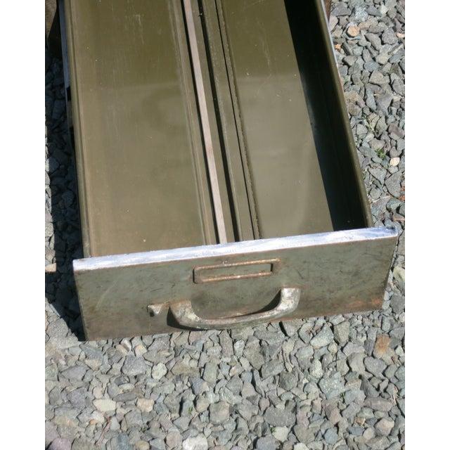 1950s Vintage Industrial Metal File Cabinet For Sale - Image 5 of 11