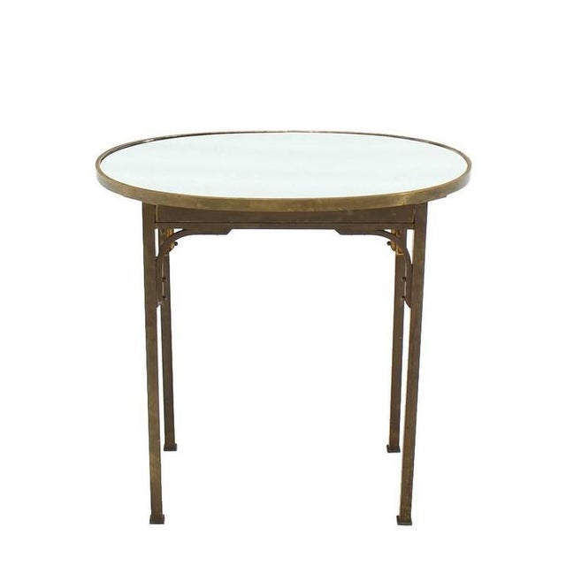 Brass Solid Brass Mirror Top Oval Hall or Side Table For Sale - Image 7 of 7