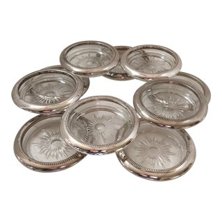 Leonara Silver and Crystal Italian Drink Coasters - Set of 10 For Sale