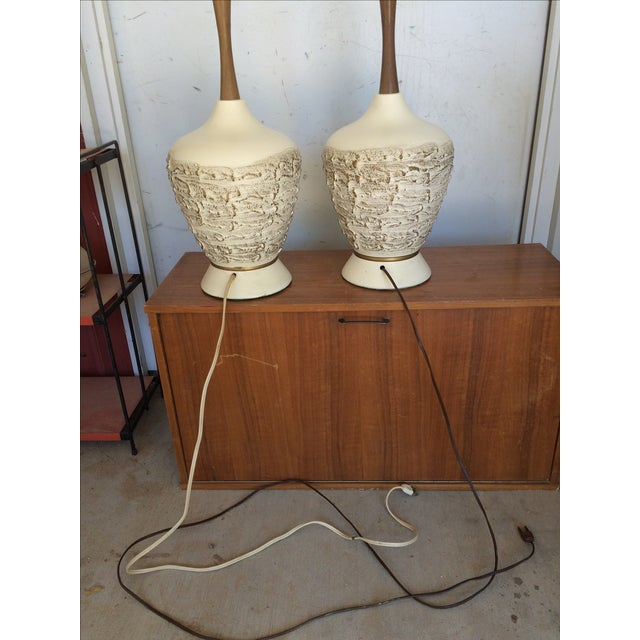 Mid-Century Ceramic & Walnut Table Lamps - A Pair - Image 7 of 7