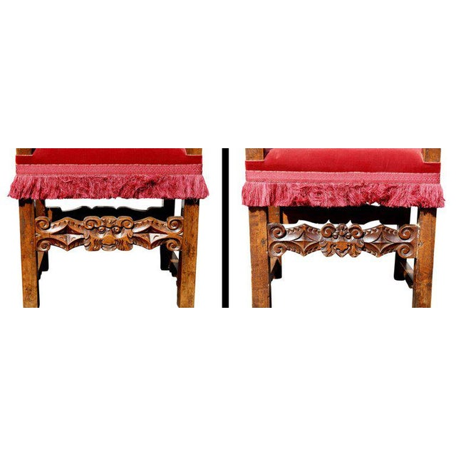Assembled Set of Six Italian Baroque Walnut Dining Chairs For Sale In Boston - Image 6 of 12