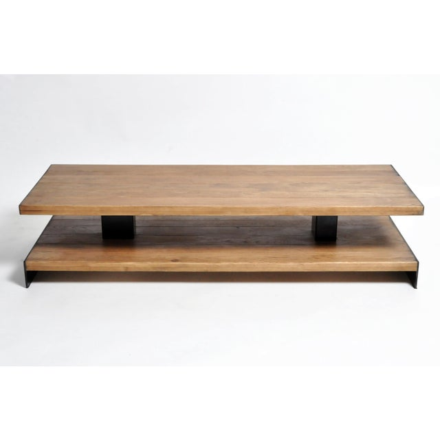 Modern Oak Wood Coffee Table With Metal Trim For Sale In Chicago - Image 6 of 10