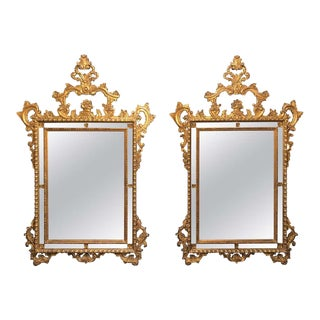 Pair of Italian Giltwood Wall / Console Mirrors, Frosted Border Finely Carved For Sale
