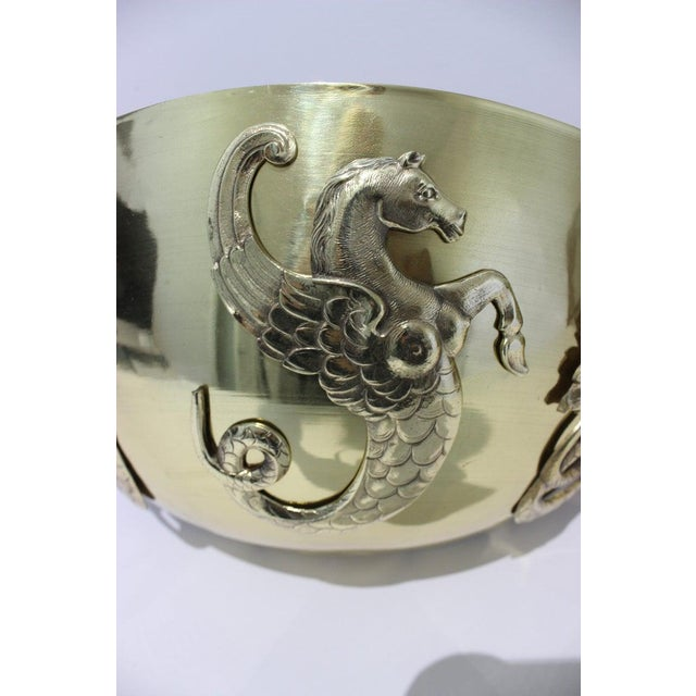 Metal Vintage 1920s Wall Mounted Cachepots Brass Hippocampus Myth Sea-Horse - a Pair For Sale - Image 7 of 13