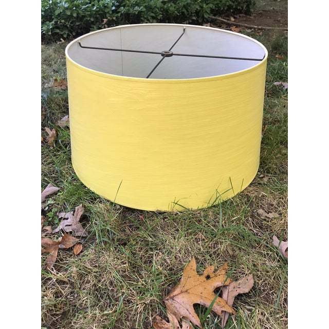 Vintage Yellow High Gloss Drum Shade For Sale In New York - Image 6 of 6