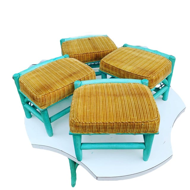 Final Markdown Vintage Palm Beach Regency Wicker Bamboo Table and Chairs - 5 Pieces For Sale - Image 12 of 13