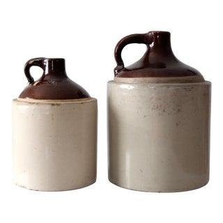 Antique Stoneware Crock Jugs - a Pair For Sale
