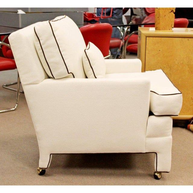 Milo Baughman Mid-Century Modern Large White with Brown Trim Lounge Armchair For Sale - Image 4 of 8