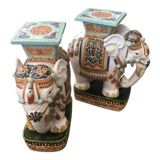 1960s Garden Stool Elephants - A Pair