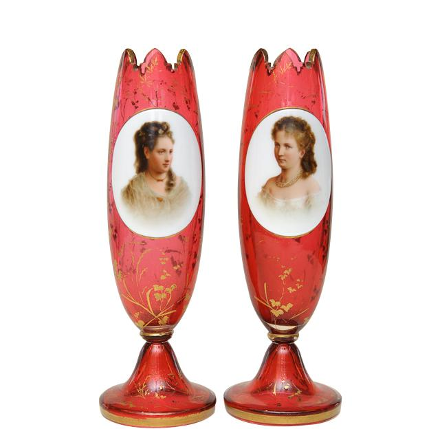 Art Glass Pair of Porcelain Vases For Sale - Image 7 of 7