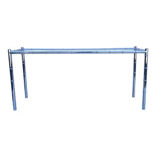 1970s Mid-Century Modern Faux Bamboo Chrome Console Table For Sale