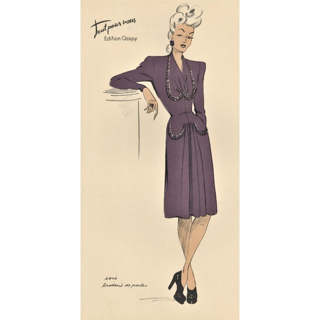 """This is a French fashion design (croquis) for ready to wear fashion from the early 1940s. The fashion notebook """"Tout pour..."""