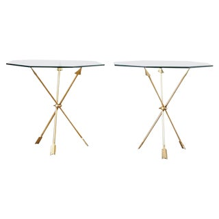 Pair of Maison Jansen Arturo Pani Style Arrow Drink Tables For Sale
