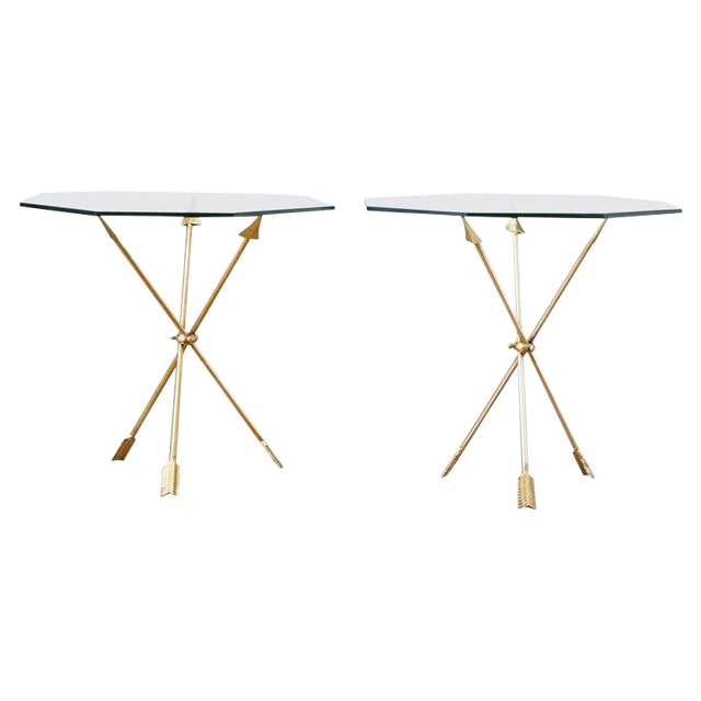 Pair of Maison Jansen Style Directoire Arrow Drink Tables For Sale