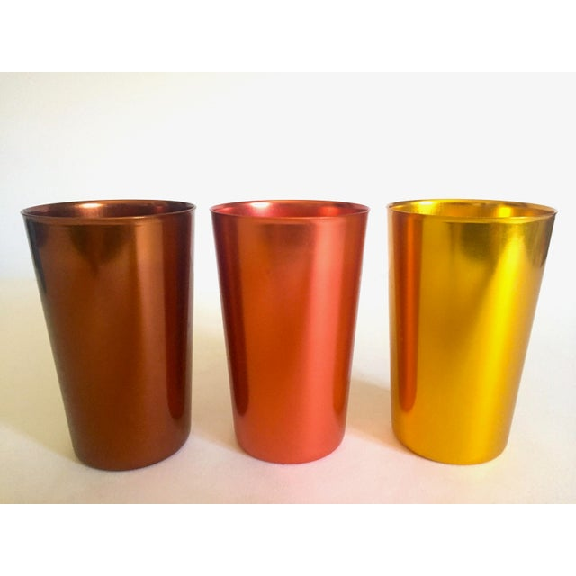 Blue Vintage Mid Century Modern Italy Anodized Spun Aluminum Multicolor Tumbler Cups - Set of 6 For Sale - Image 8 of 13