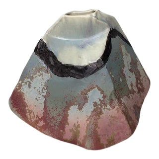 1980s Abstract Tony Evans Raku Pottery Vase For Sale