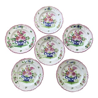 Early 20th Century Vintage French Faience Earthenware Rooster Plates - Set of 6 For Sale