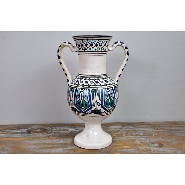 Handpainted Vintage Italian Blue and White Decorative Vase For Sale - Image 11 of 13