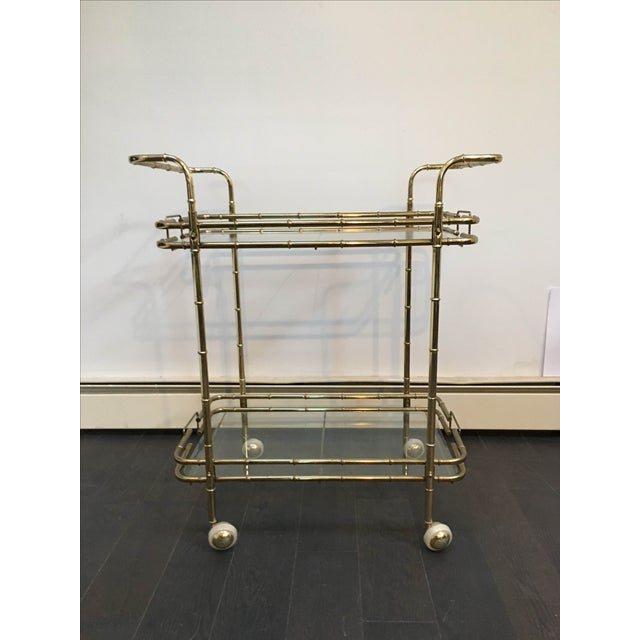 Brass Plated Mid Century Bamboo Bar Cart - Image 2 of 11