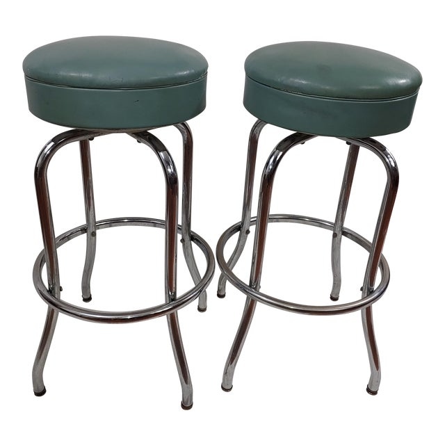 1950s Tubular Chrome Swivel Stools - a Pair For Sale