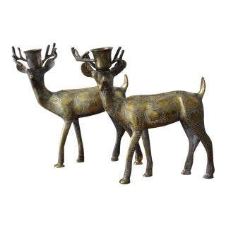 Brass Deer Candle Holders - A Pair