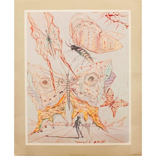 Rare 1953 Dali, Butterflies Original Period Lithograph From the Mrs. Albert D. Lasker Collection For Sale