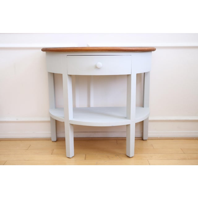 Restoration Hardware Pine Demilune Console Table For Sale - Image 5 of 5