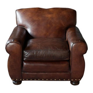 1950s Vintage Art Deco Style Leather Club Chair For Sale