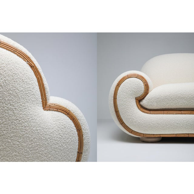 Wood Vivai Del Sud Sofa in Bouclé Wool and Rattan For Sale - Image 7 of 12