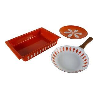 1950s Vintage Grete Prytz Kittelsen for Cathrinehom, Norway Orange Lotus Suite Kitchenware - 3 Pieces For Sale